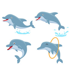 Cute dolphin cartoon collection set vector