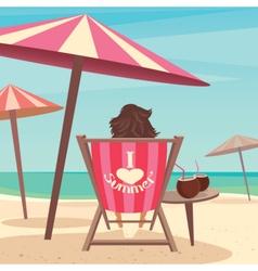Girl sunbathes on the beach vector image vector image