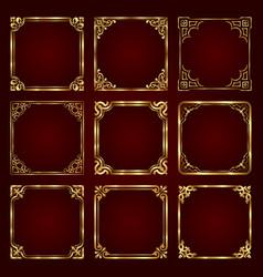 golden decorative vintage frames vector image vector image