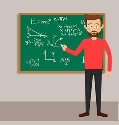 male teacher in classroom next to blackboard vector image vector image