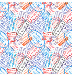 many international travel visa rubber stamps vector image