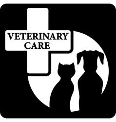 pet silhouette on black veterinary care icon vector image