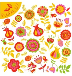 Set of colorful cute flowers vector