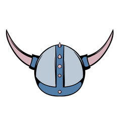 viking helmet icon cartoon vector image vector image