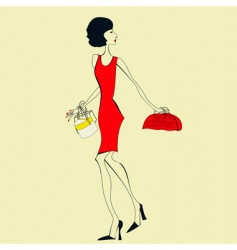 woman in a red dress vector image vector image