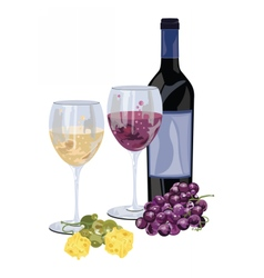 Bottle of red wine with grapes and piece of cheese vector image vector image