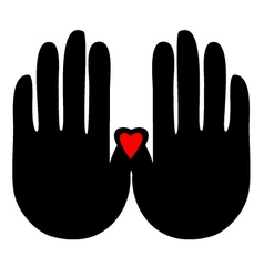 Hands with heart logo vector image vector image