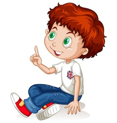 Little boy pointing up vector image vector image