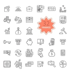 Thin Line Icons of Finance vector image