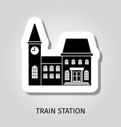 train station black building sticker vector image vector image