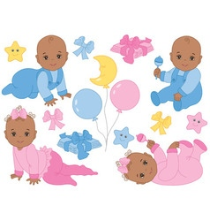 African American Baby Girl and Boy Set vector image