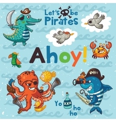 Ahoy Pirate with crocodile octopus vector