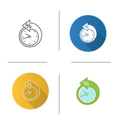 Back arrow around clock with percent icon vector