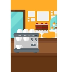 Background of bakery with pastry and coffee maker vector image