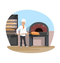 Bakery and baker baking flat design vector