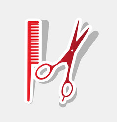barber shop sign new year reddish icon vector image
