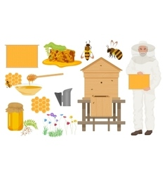 Beekeeping color icons set Man beekeer in special vector image