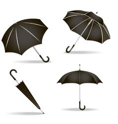 Black umbrellas set vector