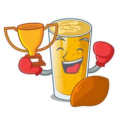 Boxing winner lassi mango in the character fridge vector
