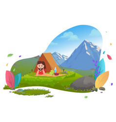 Camping in mountains traveler in tent on picnic vector