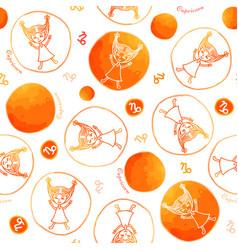 capricorn zodiac sign seamless pattern vector image