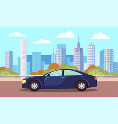 car on asphalted city road landscape town vector image