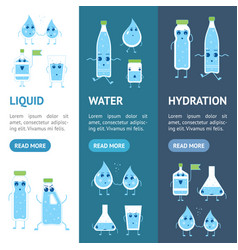 cartoon water funny emotions bottle banner vector image
