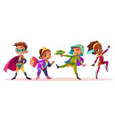 Children in superhero costumes cartoon vector