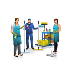 Cleaner people with janitor cart vector