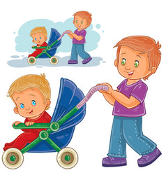 Clip art older brother wheeled vector