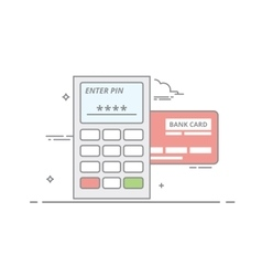 Concept of payment by credit card through the vector image