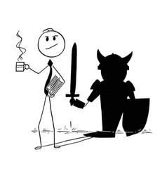 Conceptual cartoon of confident businessman and vector