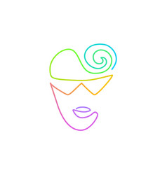 Continuous bright gradient line face in sun vector