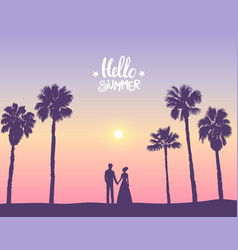 Couple palm trees vector