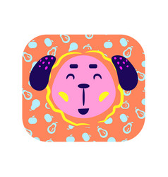 cute cartoon happy animal sticker smiling dog in vector image
