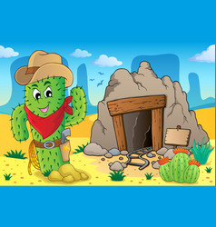 Desert with old mine theme 6 vector