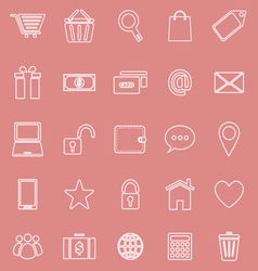 Ecommerce line icons on red background vector image