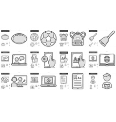 Education line icon set vector