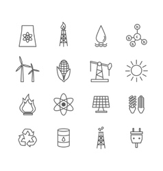 energy icons in art line style vector image