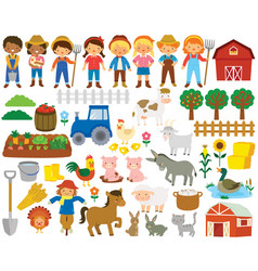 Farm life clipart set vector