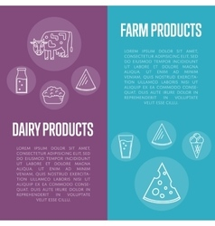 Farm products vertical flyers set vector