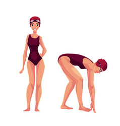 Female swimmer in swimming suit cap standing and vector