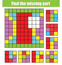 Find missing part and complete picture puzzle vector