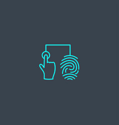 Fingerprint identification concept blue line icon vector