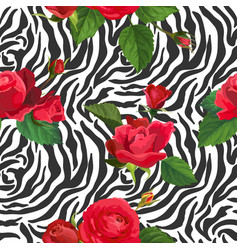 flowers and zebra skin seamless pattern animal vector image