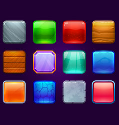 Game ui square buttons metal steel wooden and vector