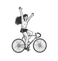 girl rides bicycle sketch vector image