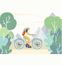 girl riding a bike with a tourist backpack in the vector image