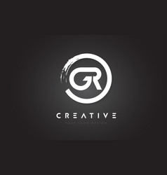 gr circular letter logo with circle brush design vector image
