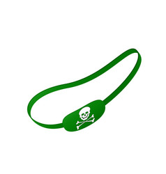 green eye patch with skull symbol vector image